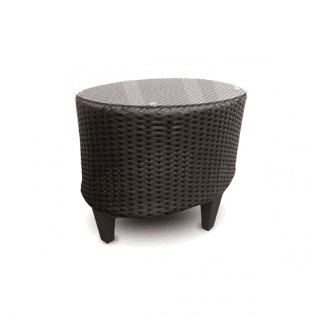 outdoor wicker side table with glass top