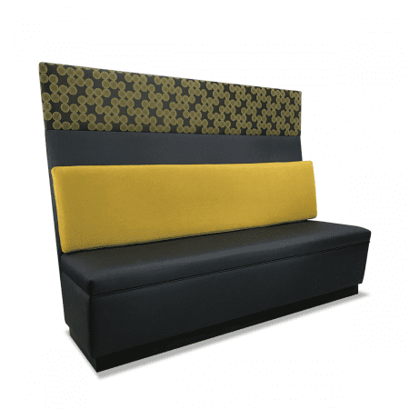 tall booth with attached lumbar support pillow