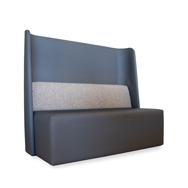 gray booth withn lumbar support pillow