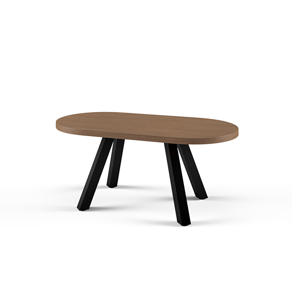 oval wooden table with metal legs