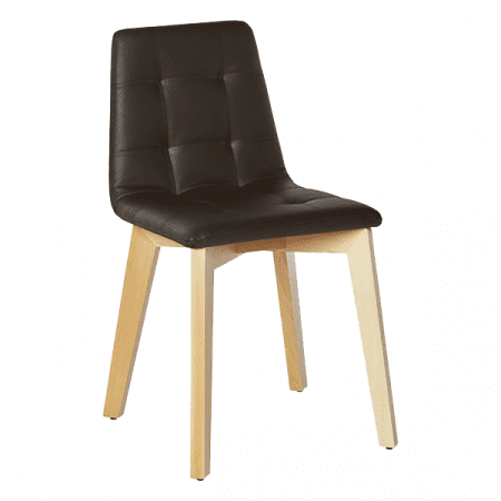 biscuit tufted chair with wood legs