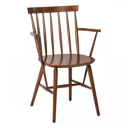 wooden spindle chair with armrests