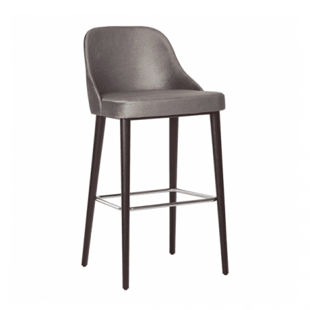 gray upholstered wood barstool with footrest