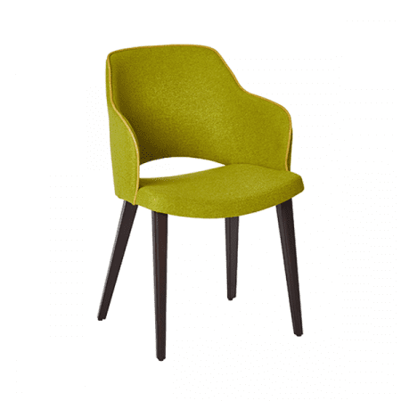 chartreuse upholstered wood chair