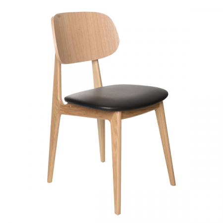 minimalist wood chair with cushion seat