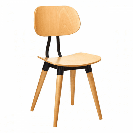 minimalist wood chair with metal detail