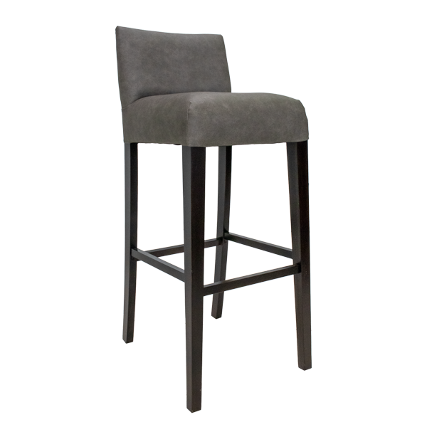 gray upholstered bar stool