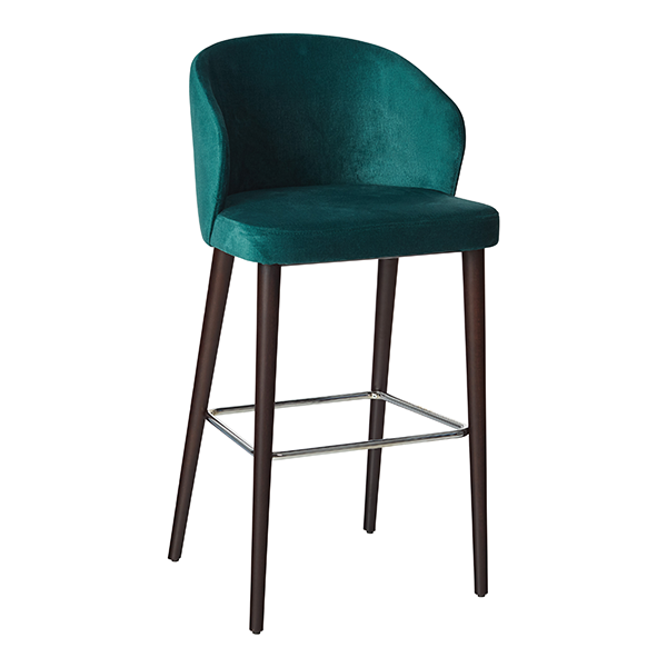 teal velvet barstool with wooden legs