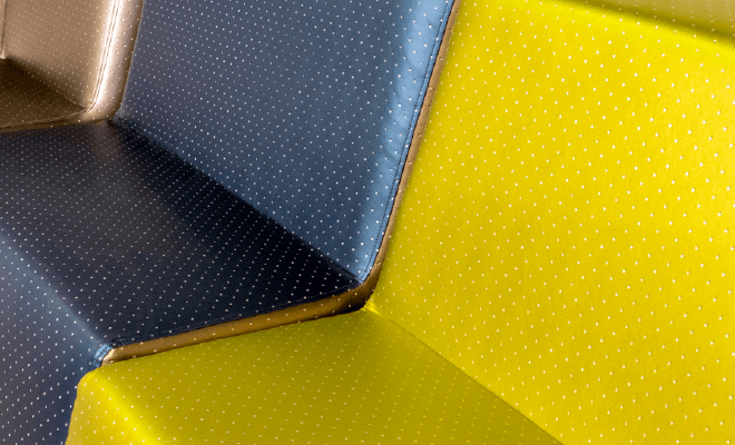polyurethane couch with polka dot colorblock