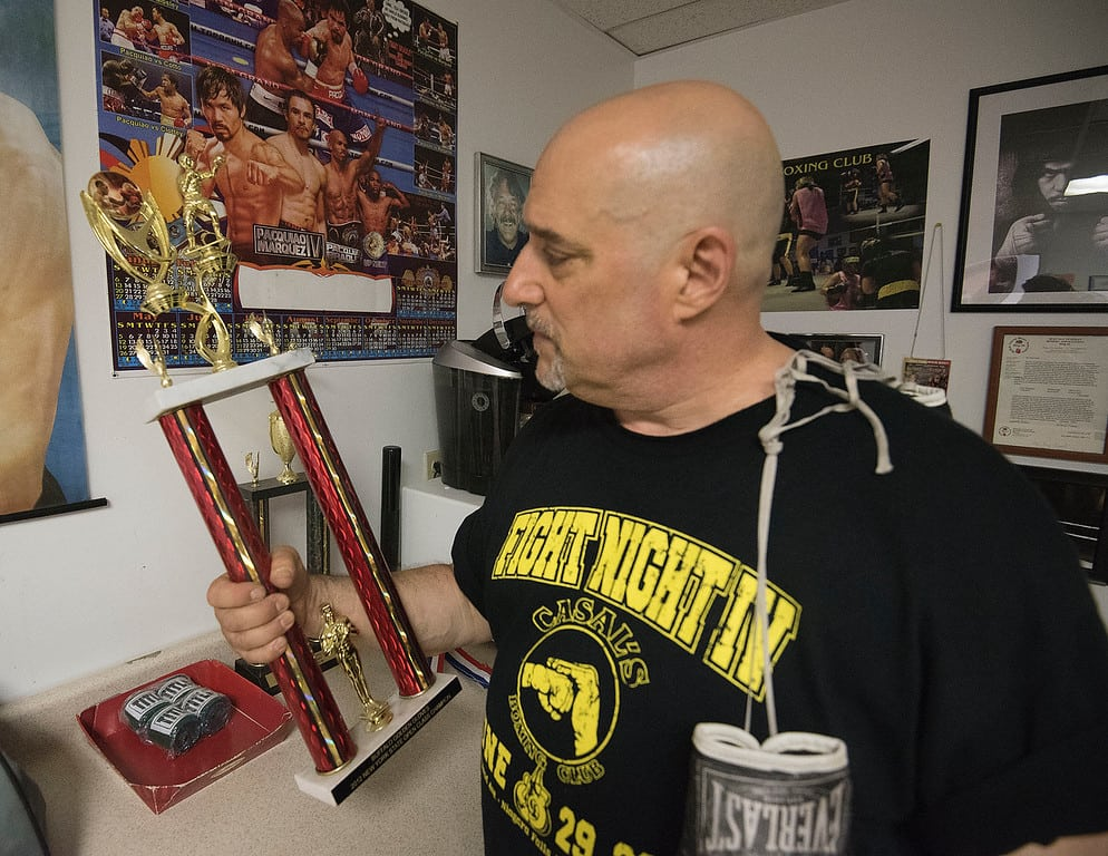 James Neiss/staff photographer  Niagara Falls, NY - Local boxing trainer Ray Casal of Casal's Boxing Club is very proud of his team winning the 2012 Golden Gloves Open Championship Heavyweight Title.
