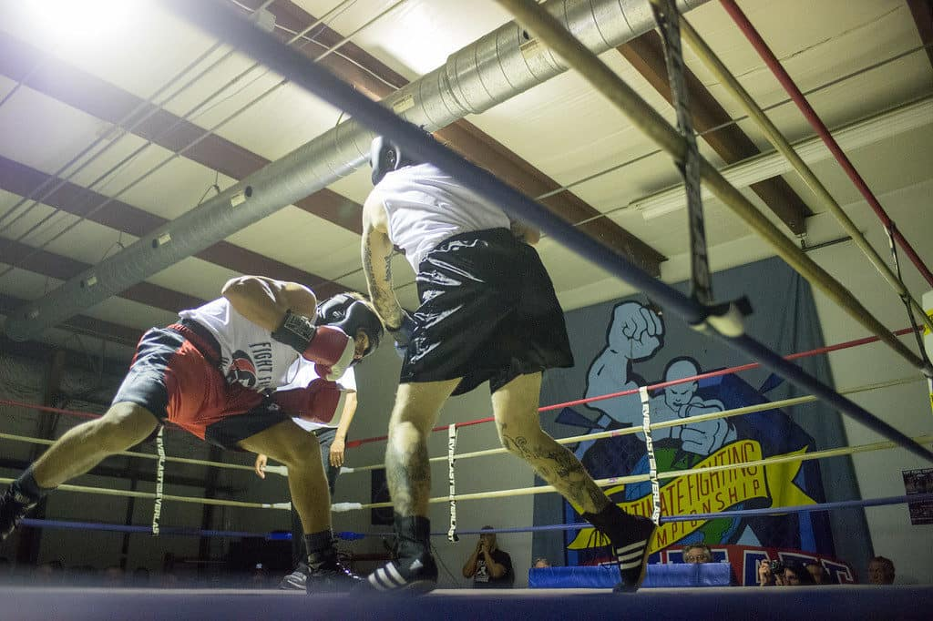 JOED VIERA/STAFF PHOTOGRAPHER Niagara Falls, NY- W. Dixon (red) and Kyle Grace(blue) box during a match at Casal's Boxing Gym.