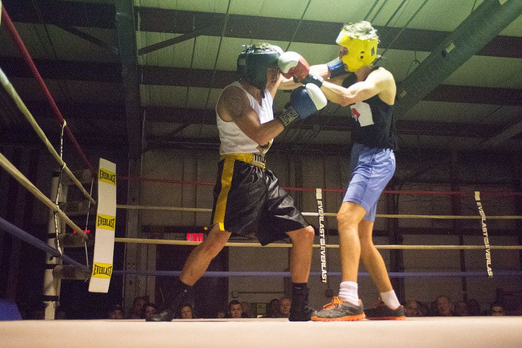 JOED VIERA/STAFF PHOTOGRAPHER Niagara Falls, NY-Nico Cirrito(blue) and Greg Webb(red) trade blows  during a boxing match at Casal's Boxing Gym.