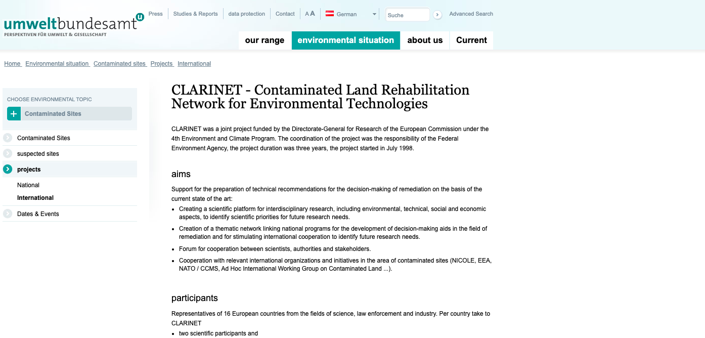 The Contaminated Land RehabilitationNetwork for Environmental Technologies in Europe (CLARINET)