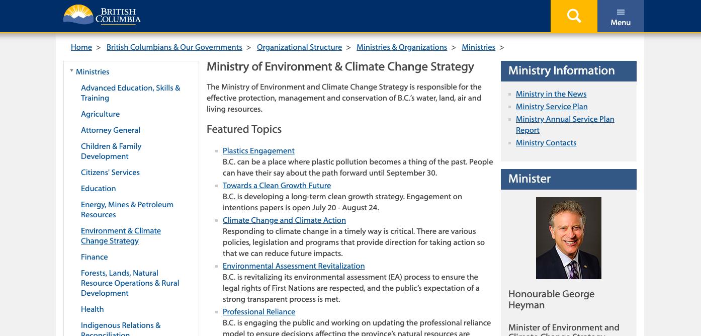 British Columbia Ministry of Environment