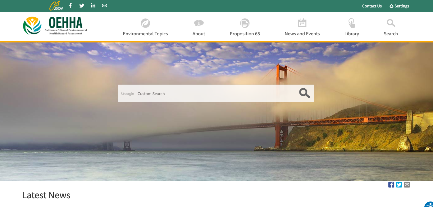California – Office of Environmental Health Hazard Assessment (OEHHA)