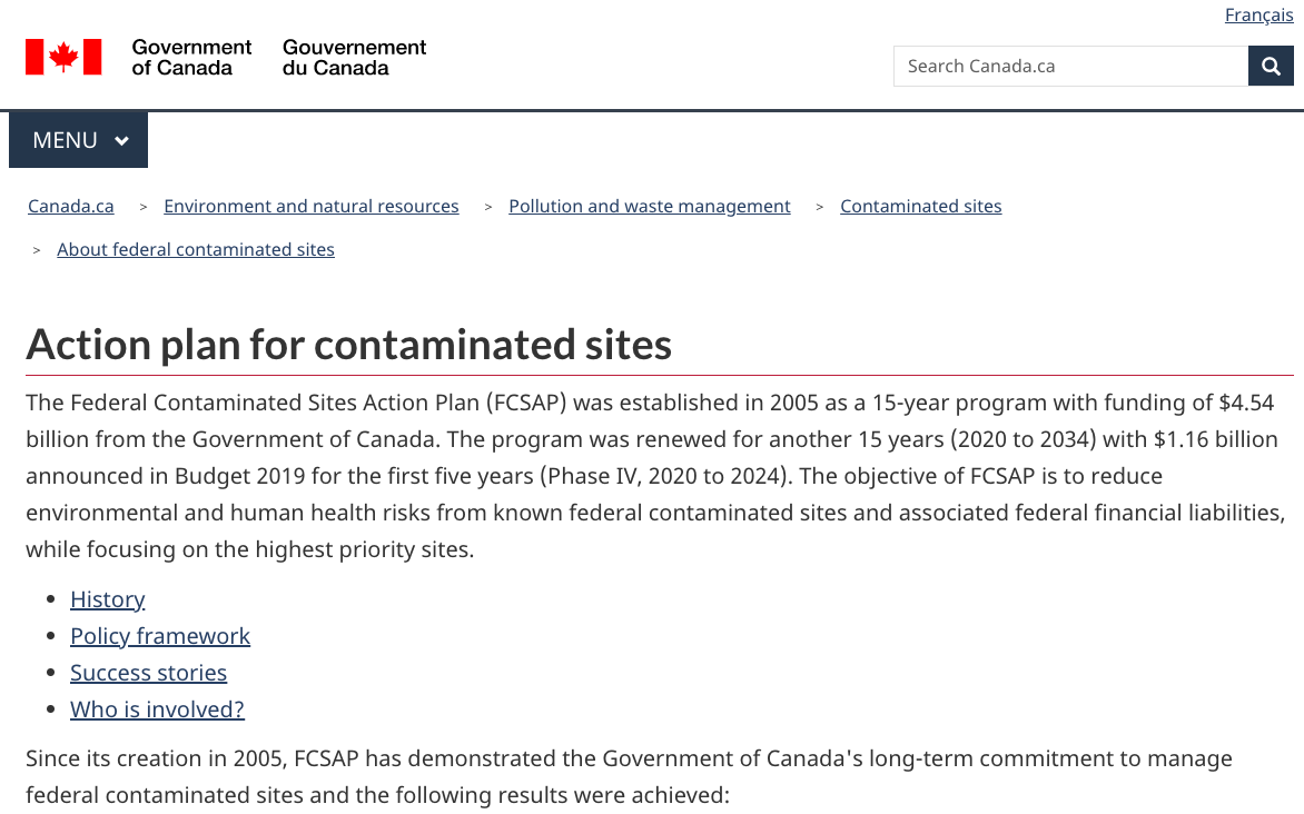 Federal Contaminated Sites Action Plan (FCSAP)