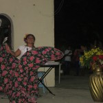 Dancing in traditional Mayan skirt