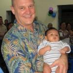 Robert holding a Mayan baby