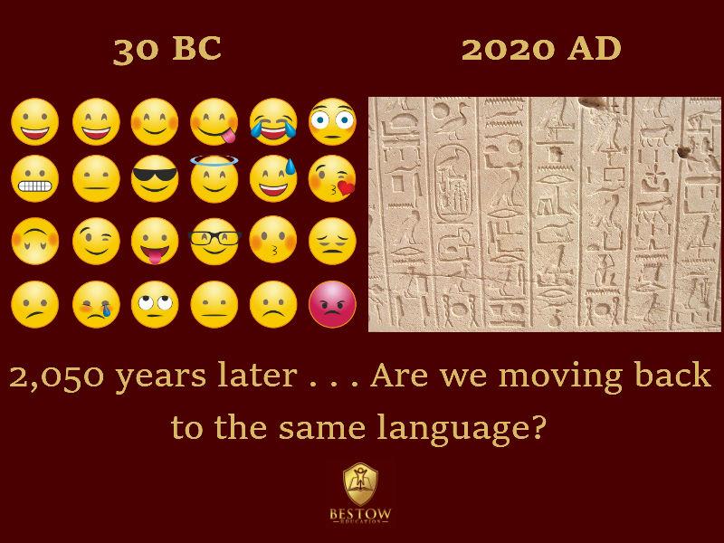 Emojis v Hieroglyphs Hieroglyphics Bestow Education