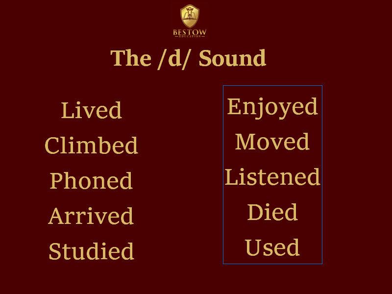 Past Tense Pronunciation d sound Bestow Education