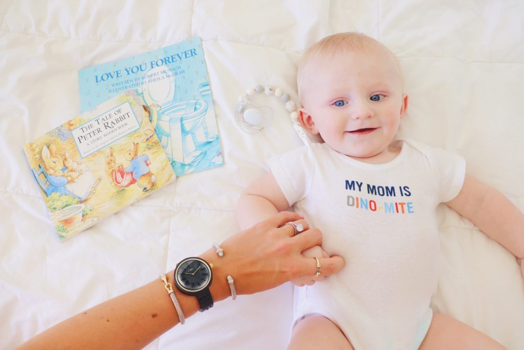 Life-Styled-by-ME-Blog-JORD-Cassia-Wood-Watch-Baby-On-Bed_with_books