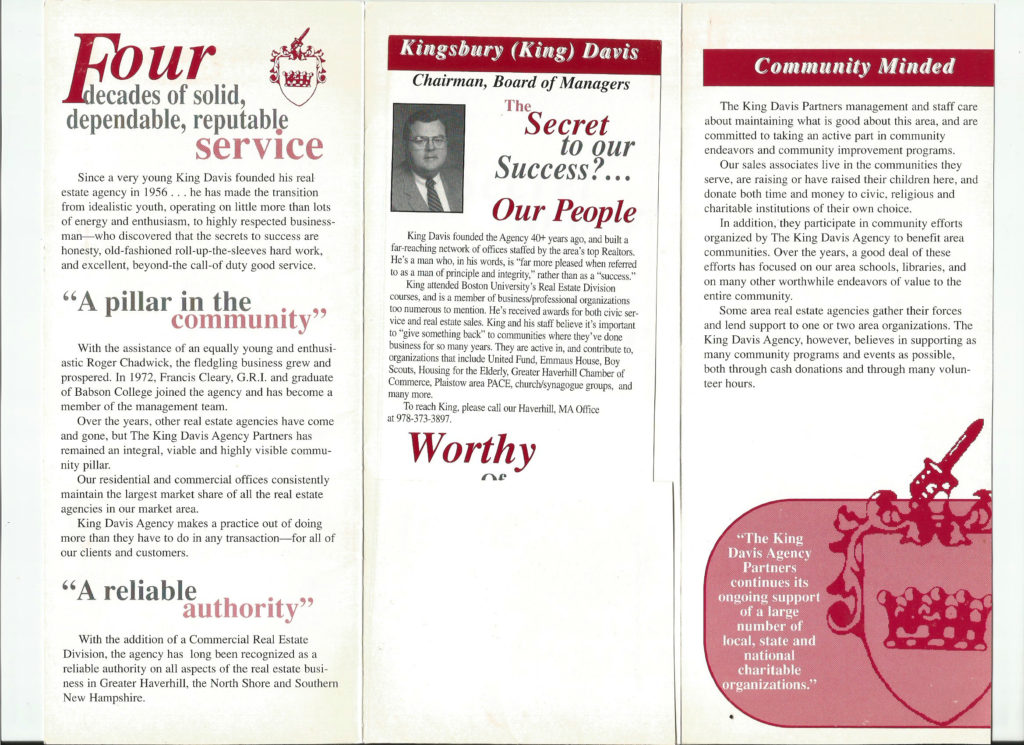 King Davis Brochure Side 2