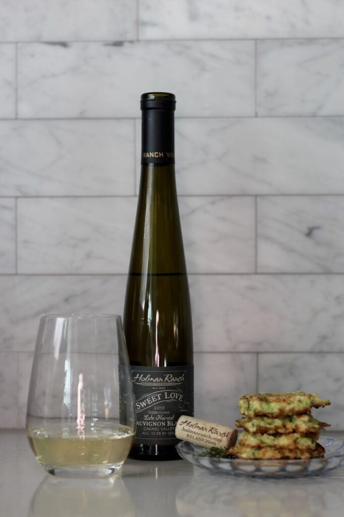 WINE + ZUCCHINI FRITTERS