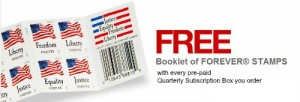free postage stamps with every subscription box ordered