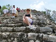 My big Sis Wendy, resting on our way up to the top of the pyramid at Coba, MX