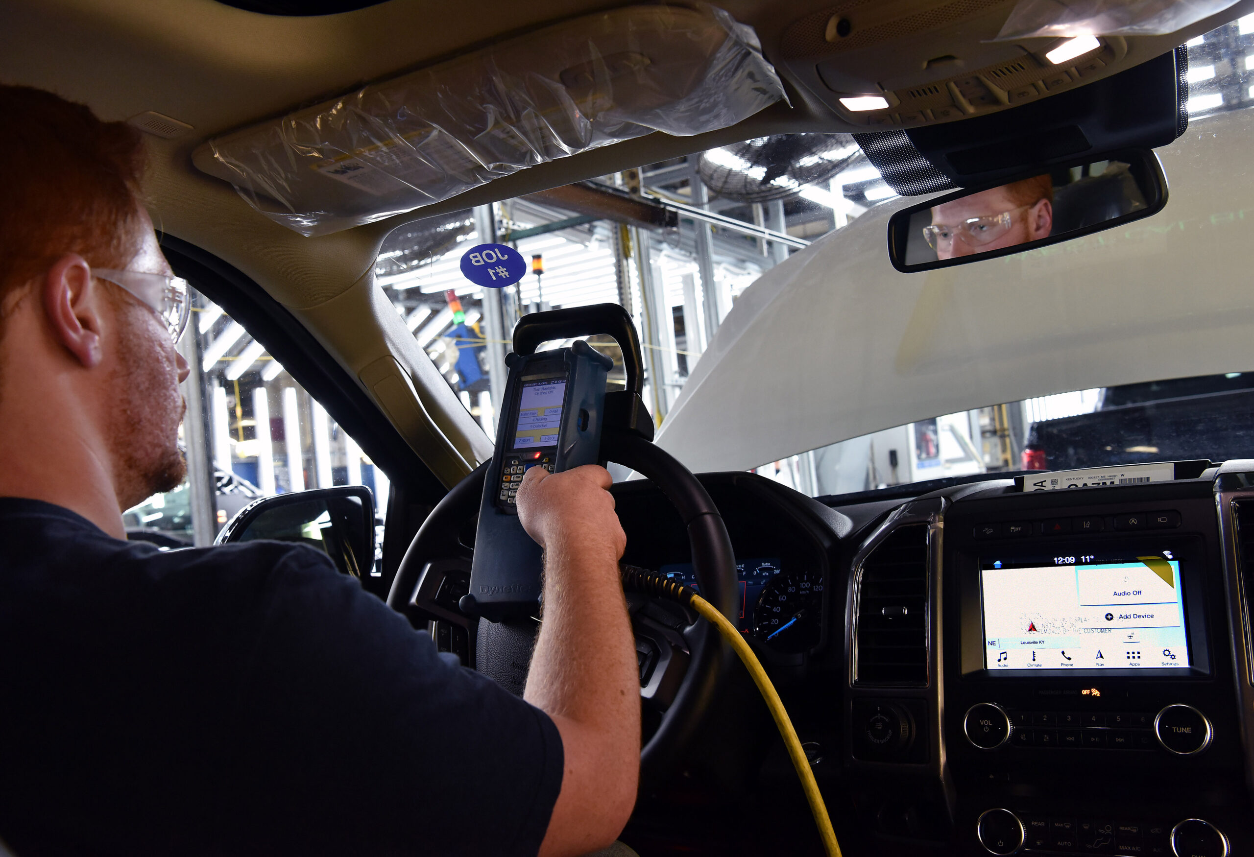 LOUISVILLE, KY., October 27, 2017 -- Ford team member, Cody Clemons doing a CBT-current base test. Ford's Kentucky Truck Plant today celebrates the launch of the all-new Expedition — the smartest, most capable and most adaptable Expedition ever — delivering generous space, more comfort and flexibility, and smart technology to keep everyone connected. Ford recently invested $900 million in the plant for upgrades to build the all-new Expedition and Lincoln Navigator, securing 1,000 full-time hourly U.S. jobs. The new Expedition arrives in dealership this fall.  Kentucky Truck Plant, which opened in 1969 and currently employs approximately 8,000 workers, produces the all-new Ford Expedition, Lincoln Navigator and F-250, F-350, F-450 and F-550 Super Duty pickups and chassis cabs. The plant has built more than 470,000 Expeditions since it was introduced to the plant's line in 2009. Photo by:  Sam VarnHagen