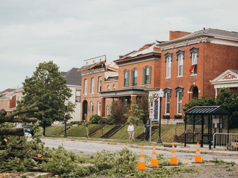 An image depicting buildings in Jefferson City, Missouri, hit by a tornado.