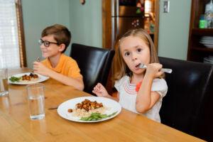 Child eating tofu