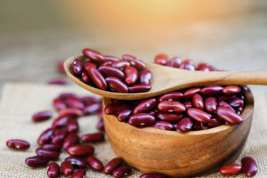 Red Beans In Wooden Bowl And Spoon