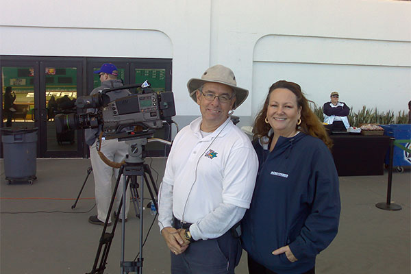Deborah and a CBS Camera Man