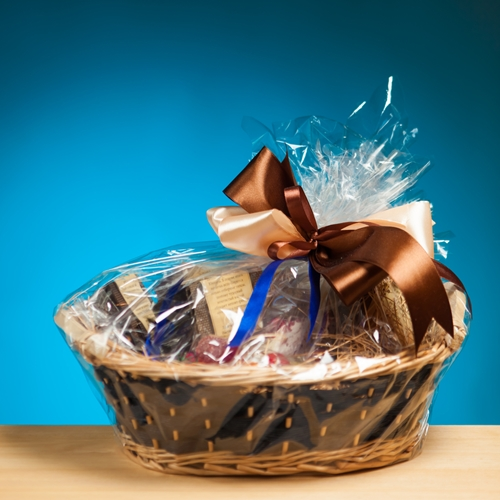 Employees enjoy baskets full of business gifts