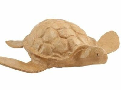 A biodegradable urn in the shape of a floating turtle.