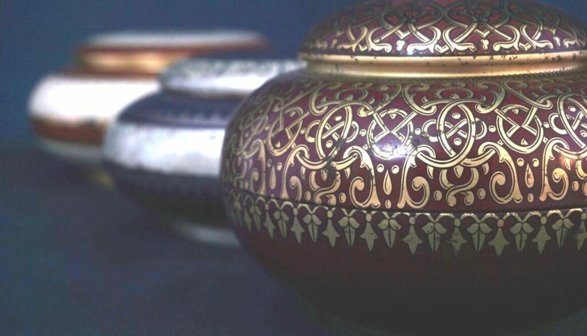 A row of cremation urns.