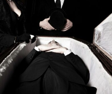 A body of a man placed inside the casket