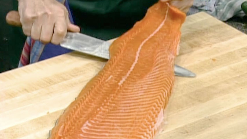 Removing Skin from Salmon