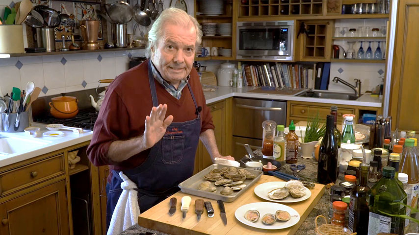 Jacques Pépin prepares clams and oysters