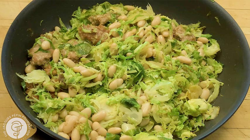 Medley of Brussels sprouts, sausage and white beans