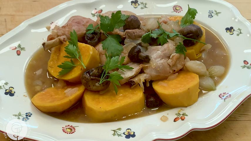 Chicken Legs with Yams, Pearl Onions and Mushrooms
