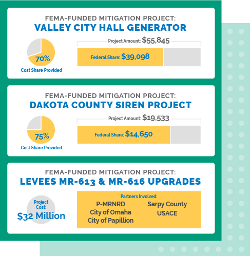 Valley City Hall Generator; Dakota County Siren Project; Upgrades and Improvements to Levees MR-613 and MR-616