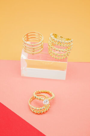 18K gord layered rings