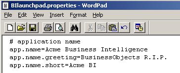 Customizing the BI Launchpad greeting
