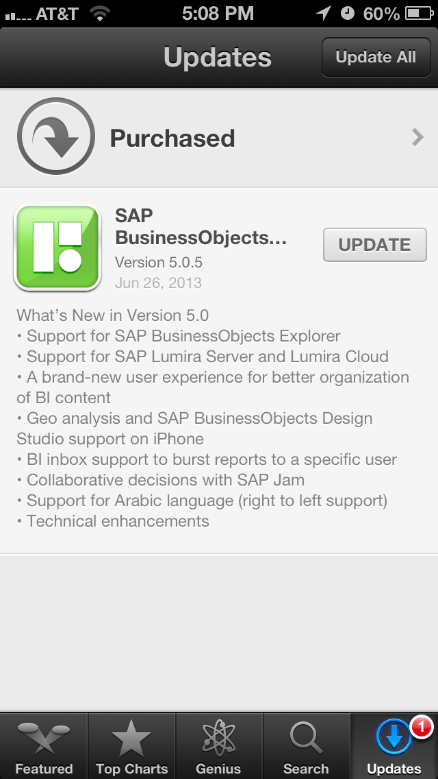SAP BusinessObjects Mobile 5.0 on iTunes