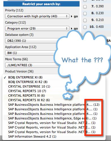 SAP Support Portal Product Version Drop Down