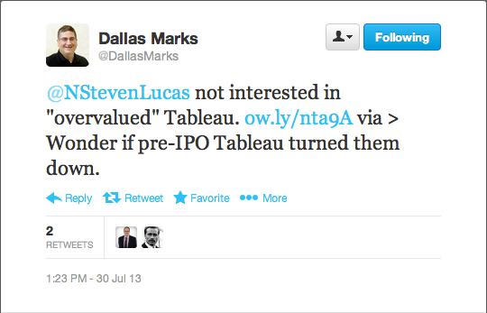 SAP not interested in overvalued Tableau