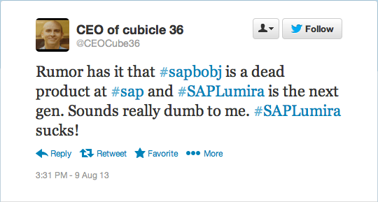Rumor is that SAP BusinessObjects is a dead product