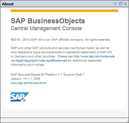 SAP BI 4.1 About Box